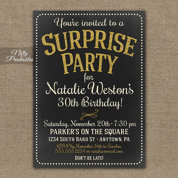 Surprise Party Invitations Printable Chalkboard Surprise Birthday