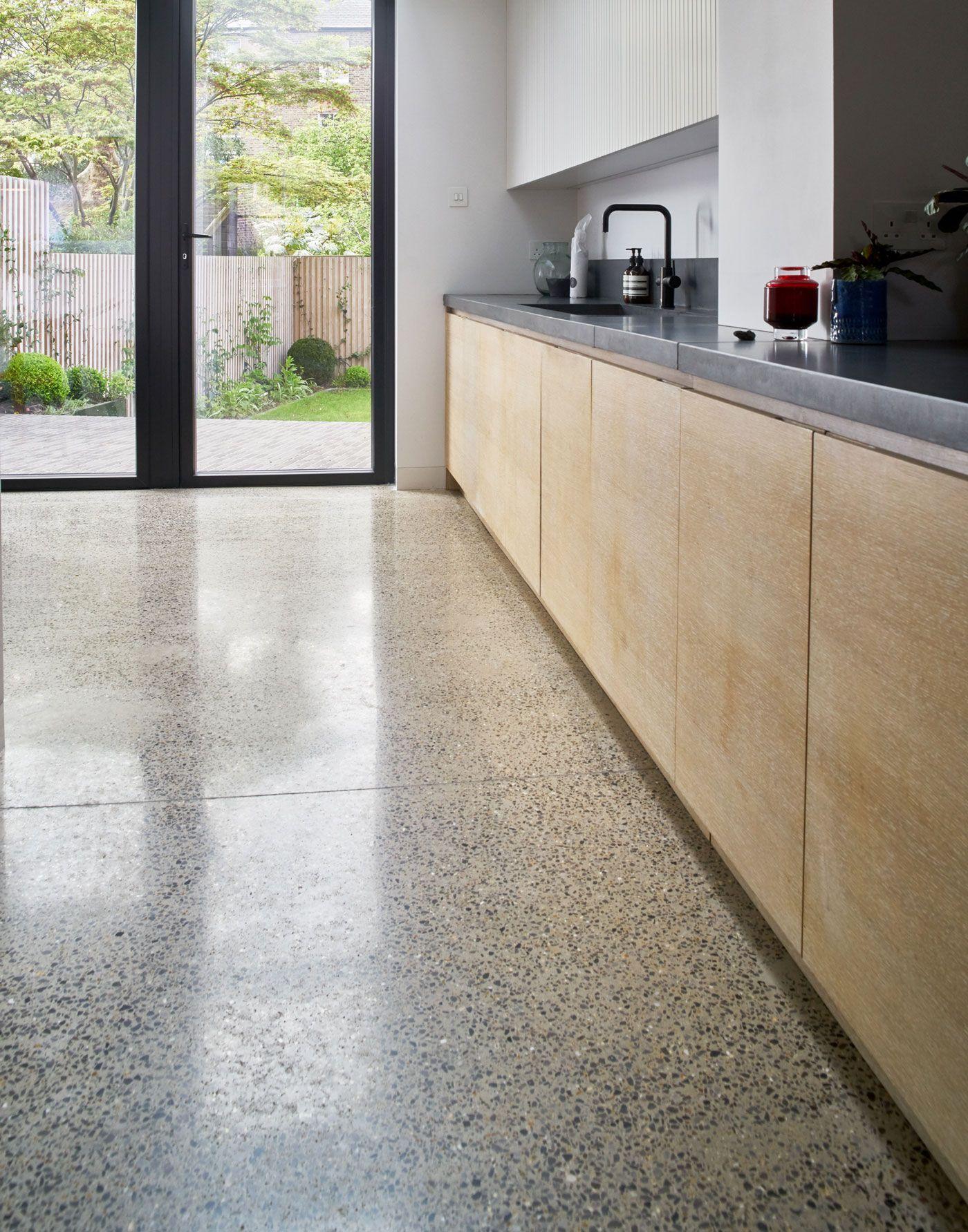 Sq1 Design Ltd Limed Oak Kitchen Concrete Worktop Birch Ply Cabinets Lined Door Detail In Concrete Kitchen Floor Birch Kitchen Cabinets Concrete Kitchen