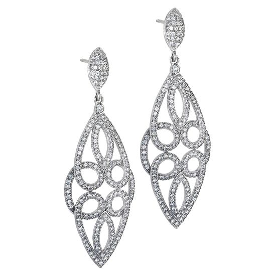 DIZEO SILVER EARRINGS.DIZEO STERLING SILVER - MICRO PAVE HAND SET JEWELRY WITH HIGH QUALITY SIGNITY STONES, FINISHED IN 18KT YELLOW, WHITE, BLACK & ROSE GOLD