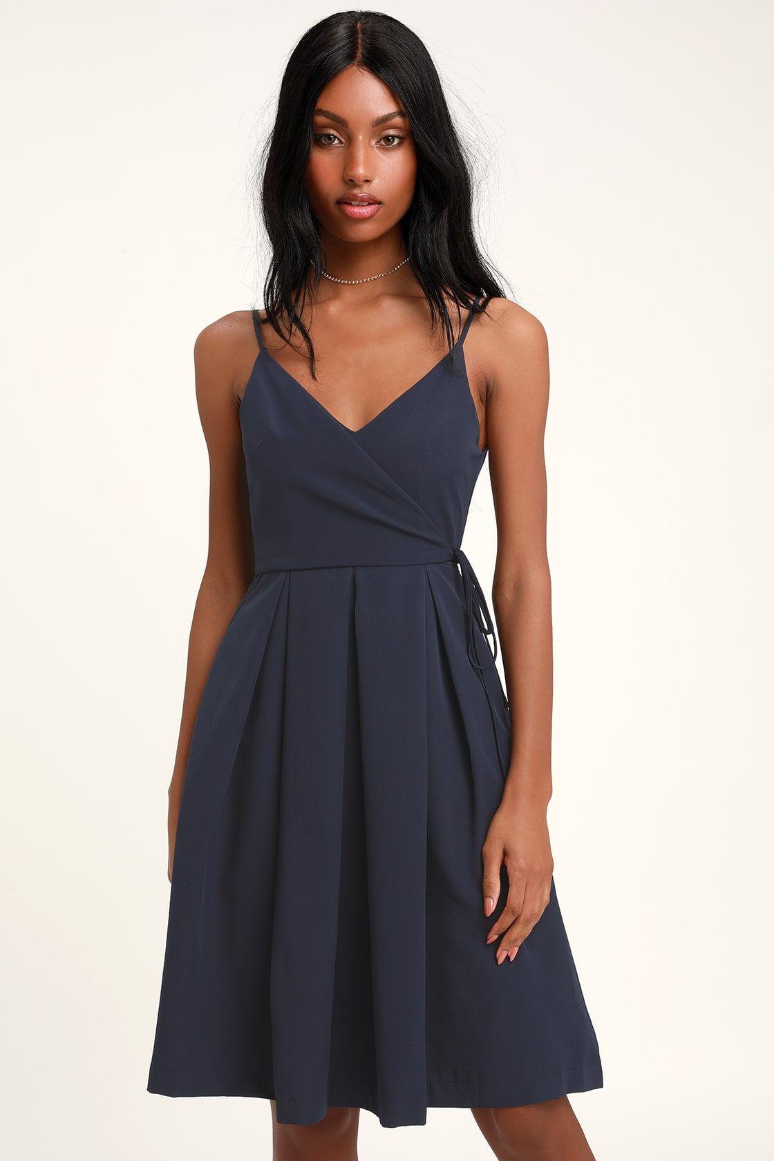 8bd276114b557 Cute Navy Blue Midi Dresses - raveitsafe