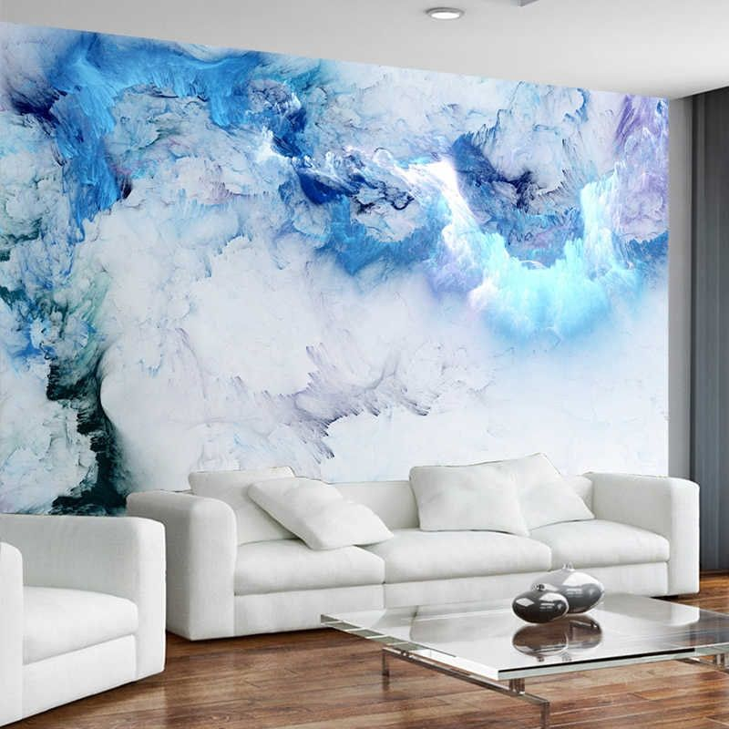 Modern Simple Abstract Colorful Cloud Mural Wallpaper ...