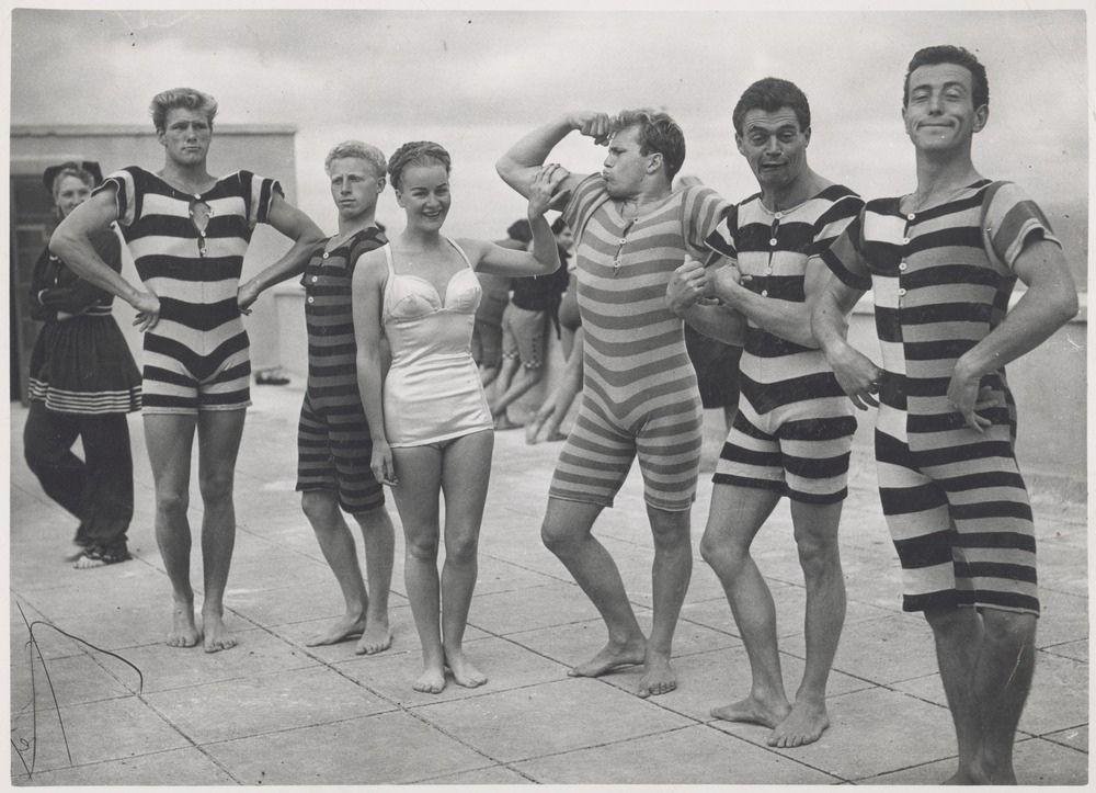 Period swim and beach wear, ca  1945-50 via reddit [[MORE