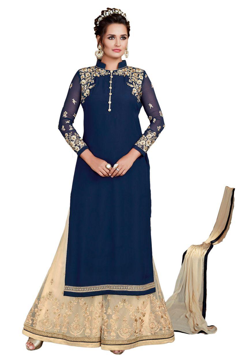7fa96f641e Semi Stitched #NavyBlue #Georgette #Partywear #Palazzo Suit  #punjabishararasuit #salwarkameez #sharara #suits  #pakistani#punjabi#weddingsuit #nikvik #sale ...