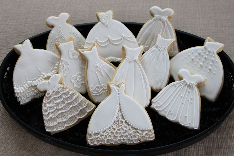 Wedding dress cookie favors sweet 16 bridal door 4theloveofcookies ...