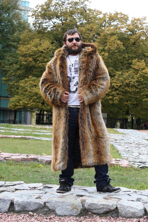 Mann mit Kapuze Kunstpelz Mantel lange gefälschten Pelz