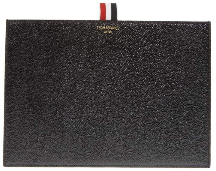 489c54a310 Thom Browne Black Hammered Leather Clutch | Products | Leather ...