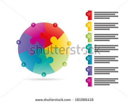 Rainbow spectrum colored seven sided puzzle presentation infographic template with explanatory text field isolated on white background - stock vector