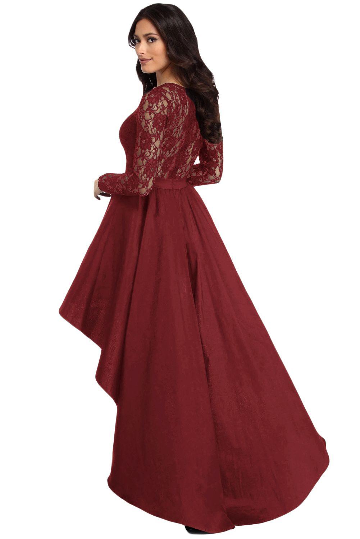 Long Sleeve Lace Hi Low Satin Prom Dress Fast Shipping Worldwide Satin Prom Dress Black Dresses Classy Dresses [ 1500 x 1001 Pixel ]