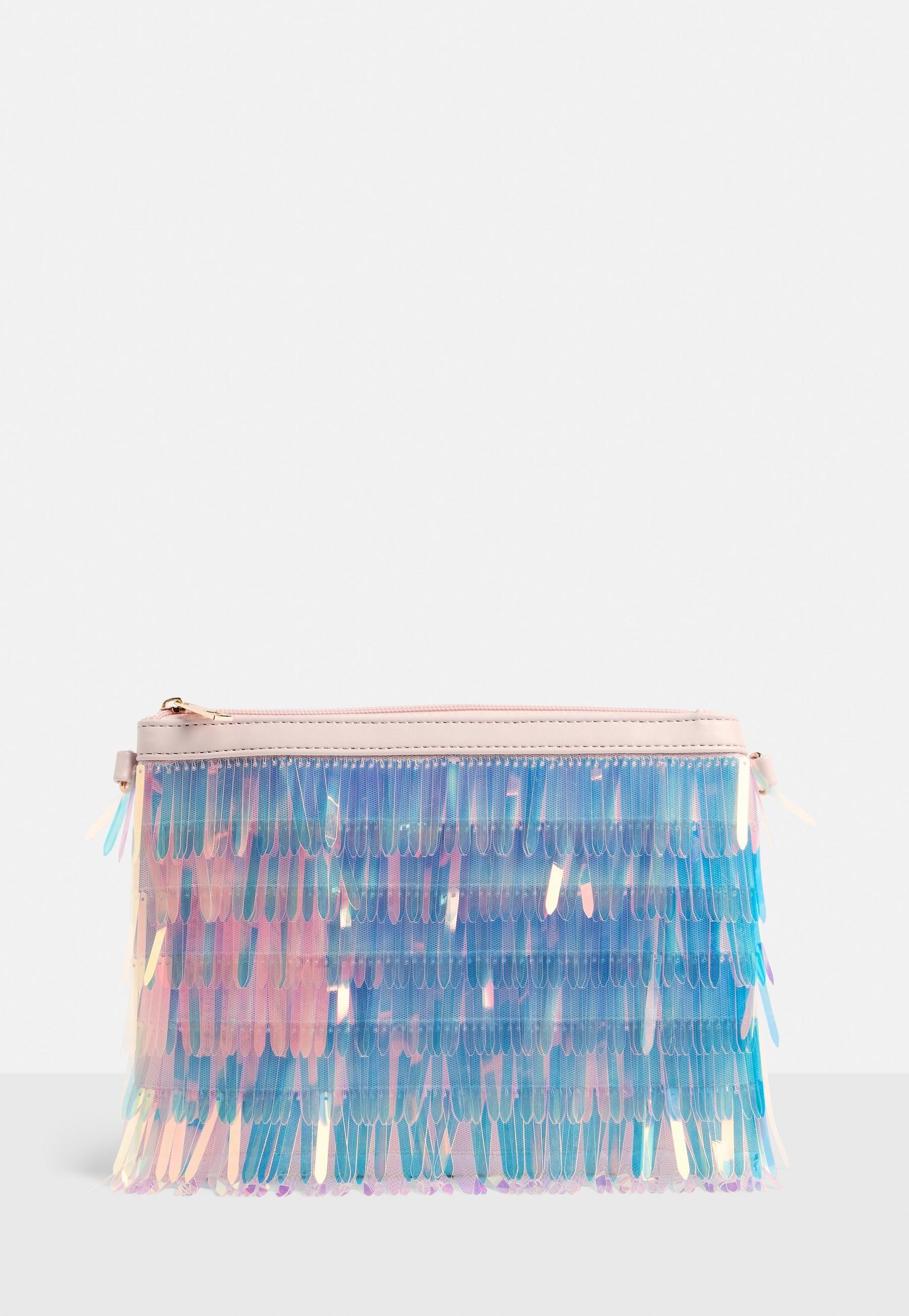 fe4d06eaf4a1 Pink Iridescent Holographic Tassel Clutch Bag