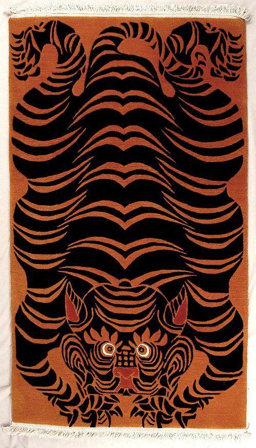Tibetan Rug Tiger Painting