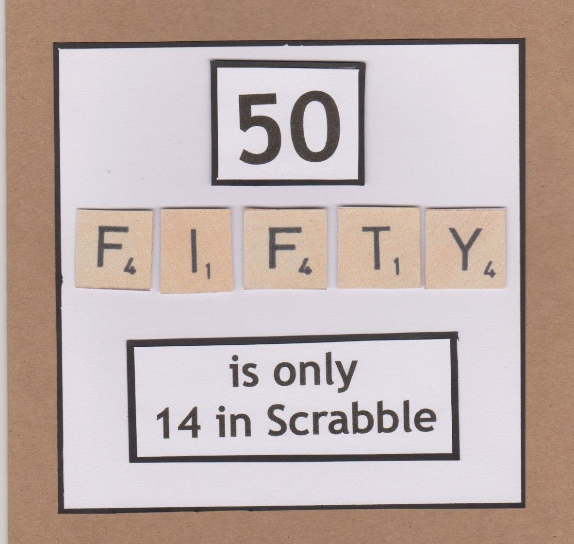 Lidy's Place: 50 jaar kaart man en vrouw - 50th birthday card man and woman scrabble tiles #moms50thbirthday