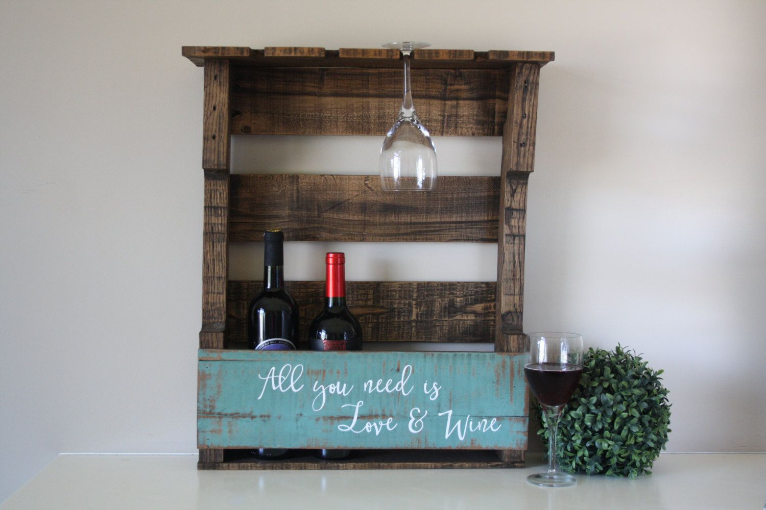 Reclaimed Wood Wine Rack Pallet Shelf Wall Mounted Rustic Housewarming By Tinhatdesigns