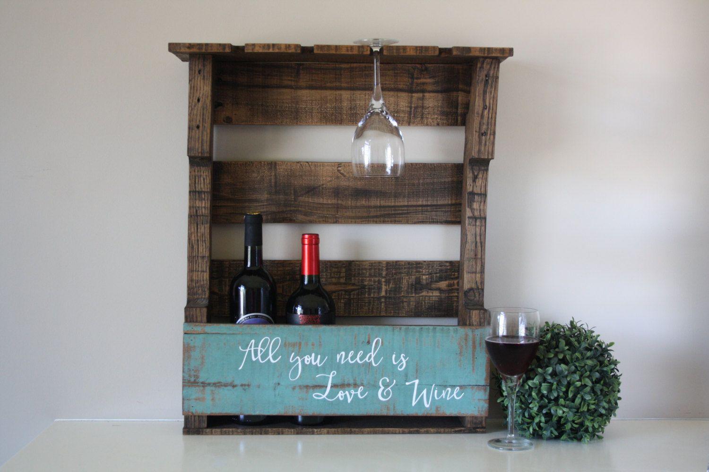 Reclaimed Wood Wine Rack Pallet Shelf Wall Mounted Rustic Housewarming By Tinhatdesigns