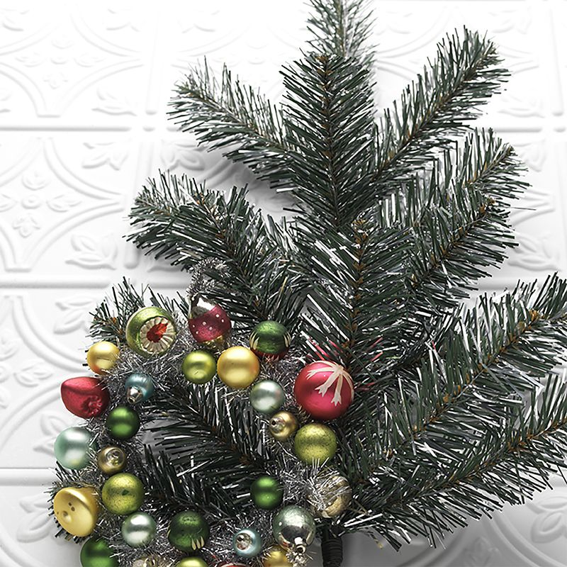Raz 28 Pine And Silver Tinsel Mixed Christmas Spray F3700039 Tinsel Christmas Tree Silver Tinsel Christmas Tree Christmas Tree Themes