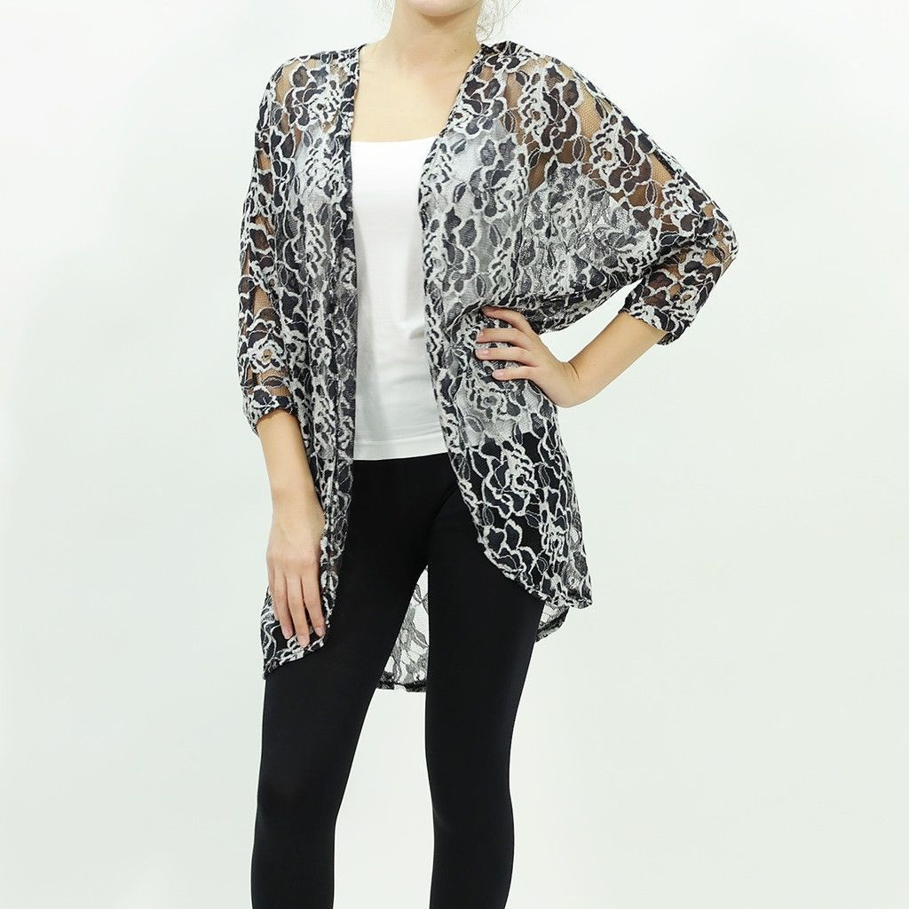 Floral lace sheer black cardigan | Floral lace, Floral and Long black