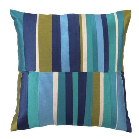 """Do try this at home. Get this expensive designer look by seaming non-matching sections of stripes down center both front and back of 20""""X20"""" pillow cover. Marimekko would work really well a.o."""
