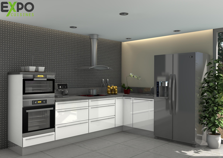 Pack Cuisine Angle Cristal Blanc De Xcm Avec Colonne Four Et - Meuble cuisine colonne pour idees de deco de cuisine