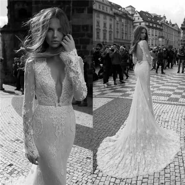 2015 Berta Backless Wedding Dresses Plunging V Neck Long Sleeves ...