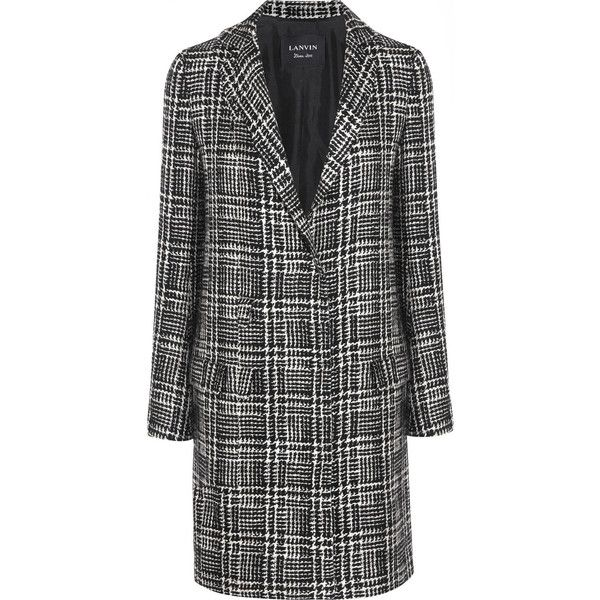 Lanvin Prince of Wales check wool-blend tweed coat (5.480 BRL) ❤ liked on Polyvore featuring outerwear, coats, coats & jackets, tweed wool coat, wool blend coat, lanvin, tweed coat and lanvin coat