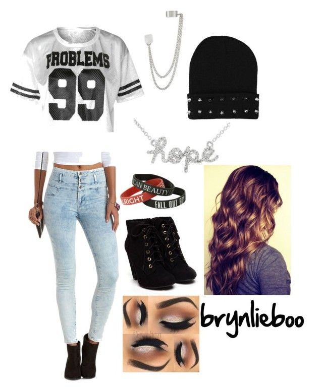 """""""gangster wannabe"""" by brynlieboo ❤ liked on Polyvore featuring Charlotte Russe and French Connection"""
