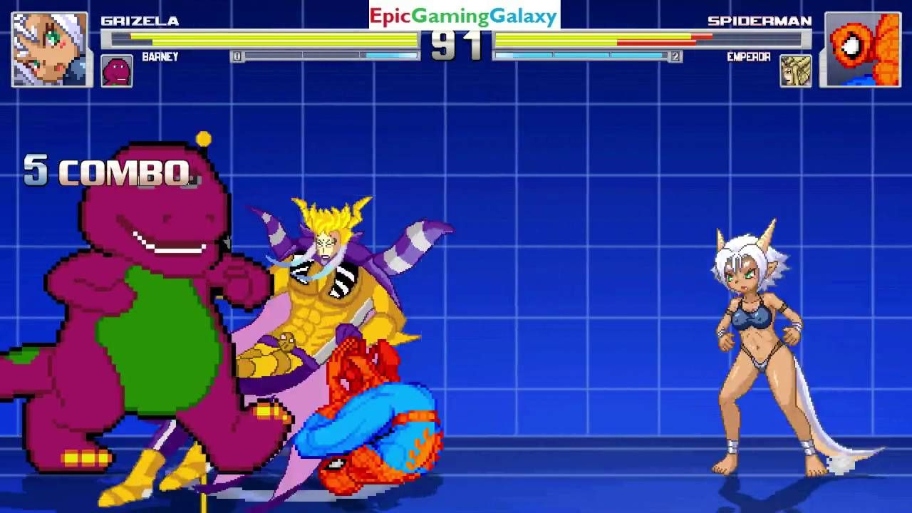 Barney The Dinosaur And Grizela Vs Emperor And Spider Man In A Mugen Match Battle Fight This Video Showc Barney The Dinosaurs Battle Fight Barney Friends