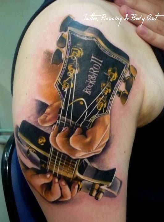 d95453d318227 Fantastic guitar tattoo in perspective | Rat a Tat Tat + Style ...