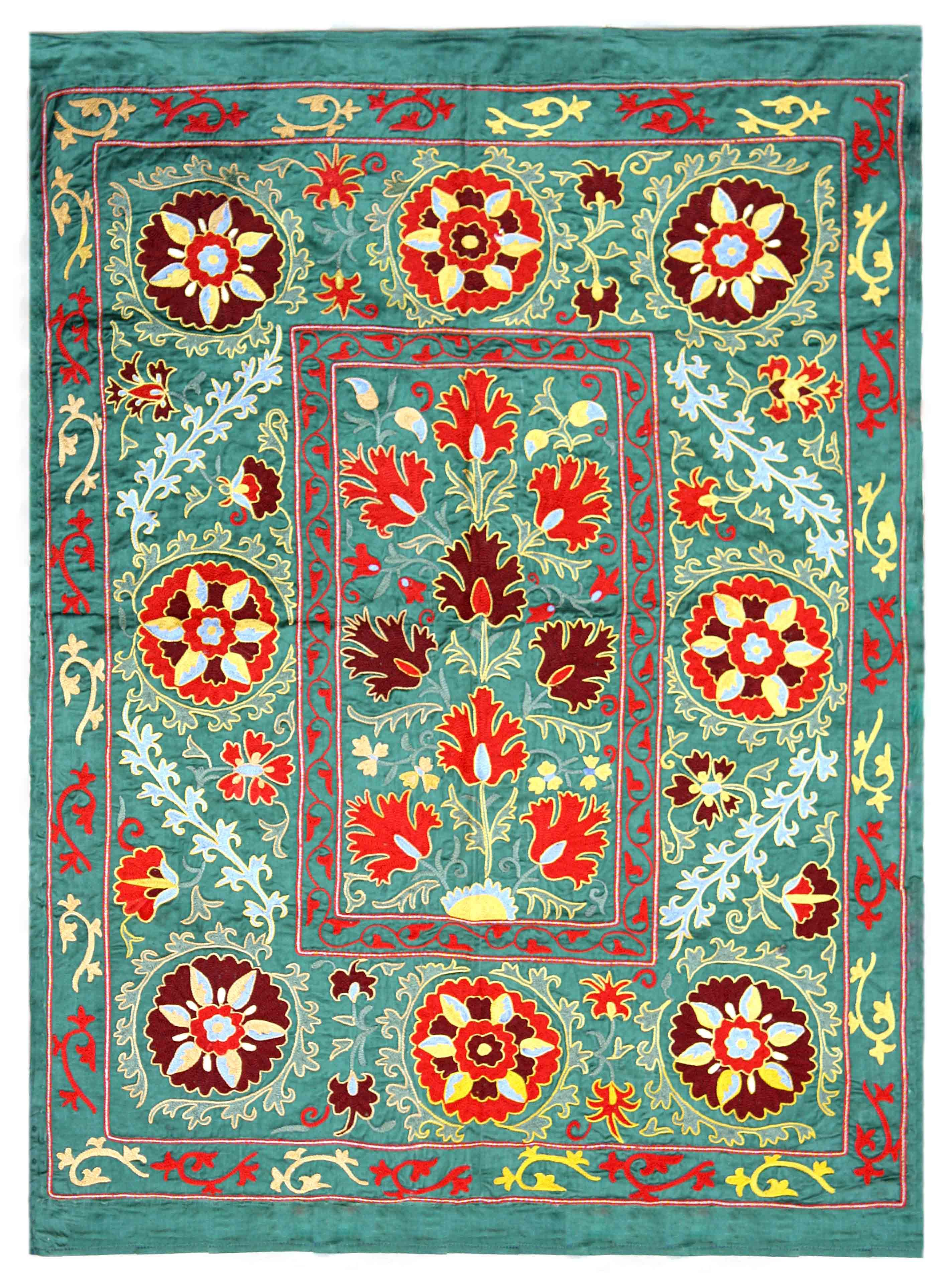 Antiques Antique Oriental Silk And Metallic Embroidery Suzani Embroidery