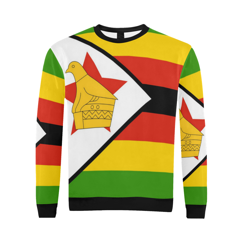 Zimbabwe Flag 2 All Over Print Crewneck Sweatshirt For Men Model H18 Sweatshirts Crew Neck Sweatshirt Men Model [ 1000 x 1000 Pixel ]
