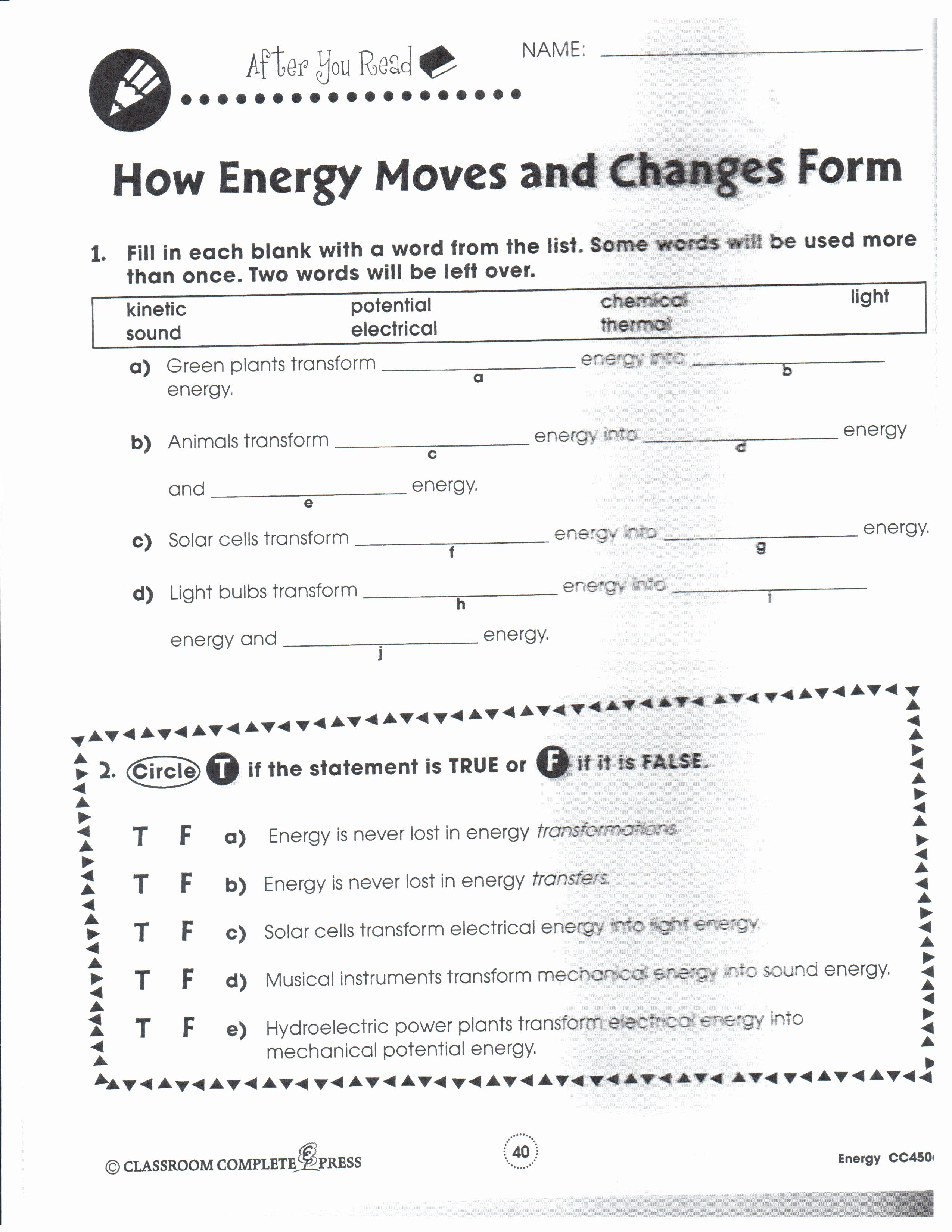 Work Power And Energy Worksheet Answers