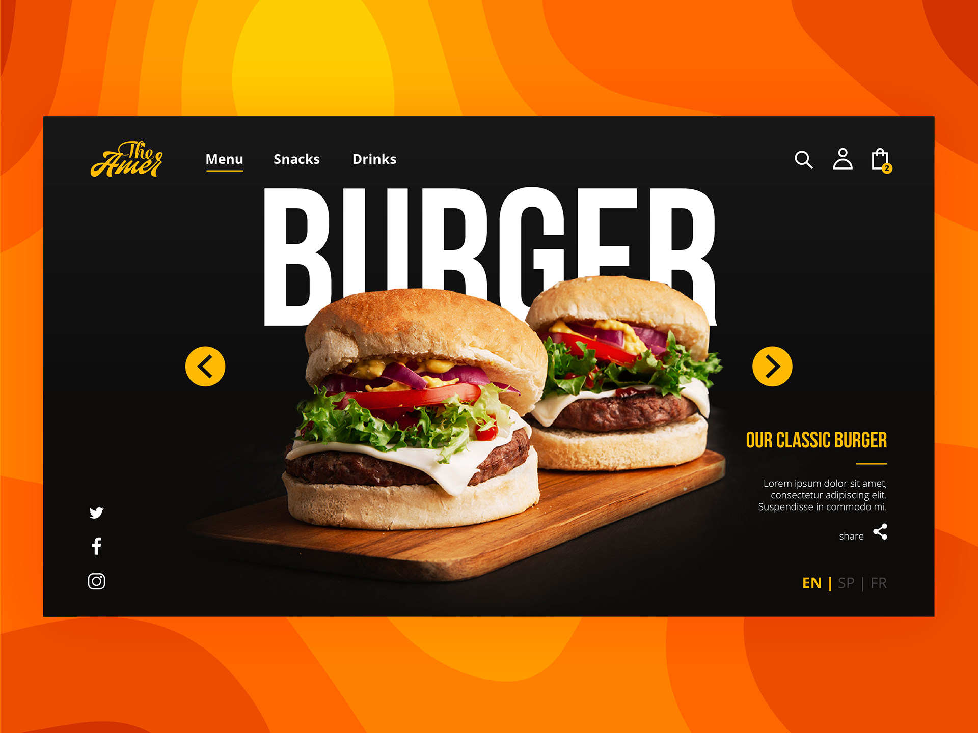 Burger Food Delivery Landing Page Designs On Behance Ideias De Marketing Embalagens
