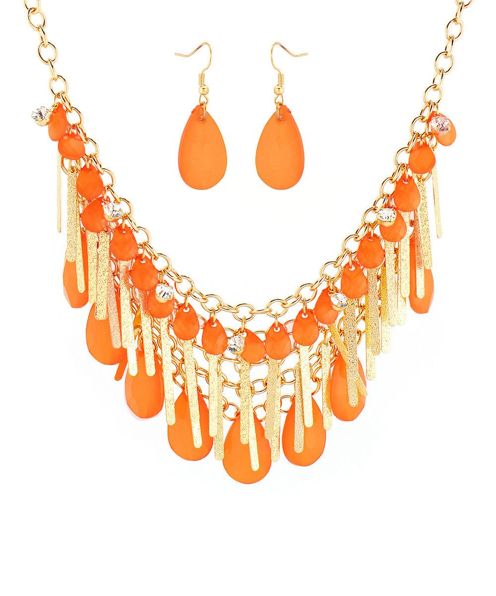 Look what I found on #zulily! Orange & Goldtone Fringe Statement Necklace & Teardrop Earrings by  #zulilyfinds