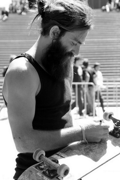 Skateboard and beard