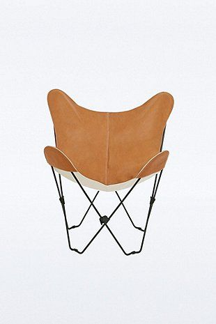 Leather Butterfly Chair Cover in Tan