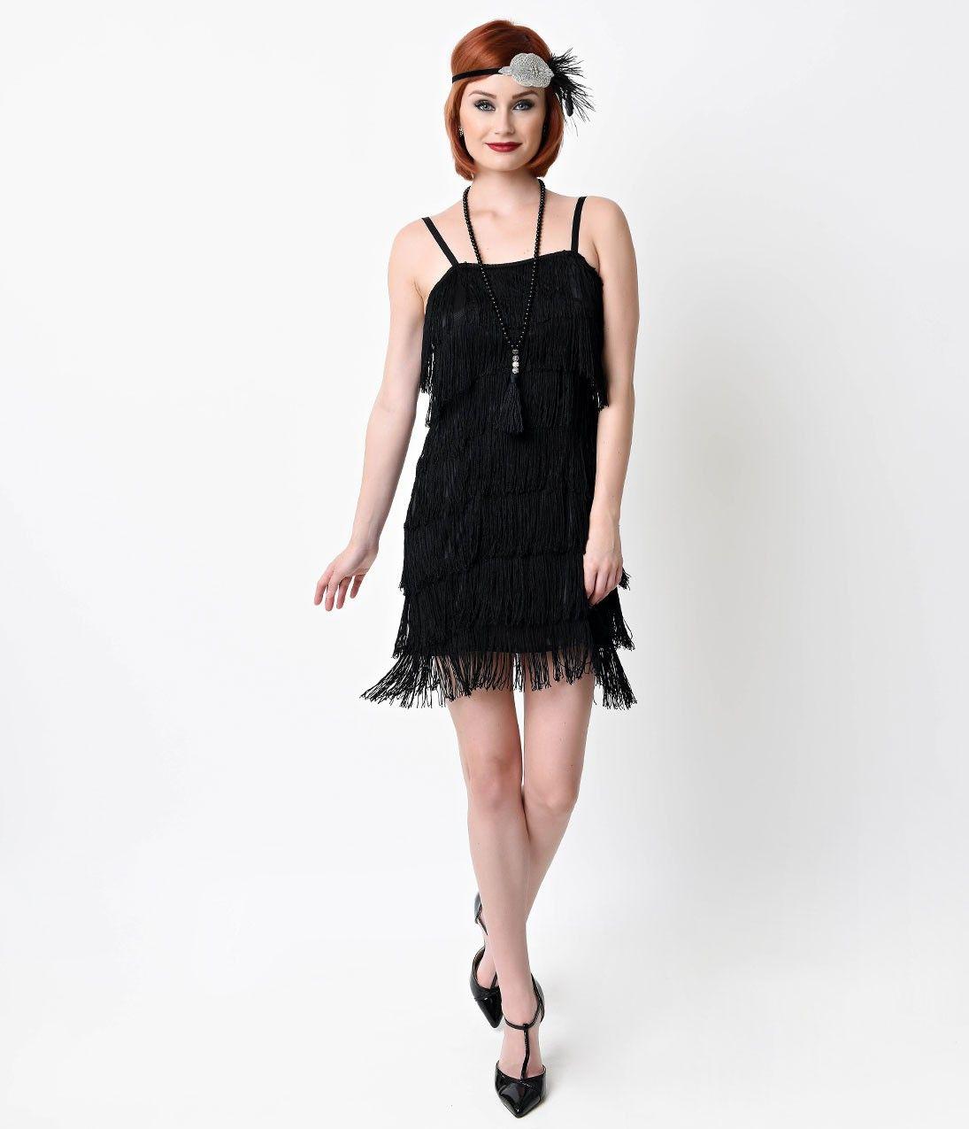 1920s Style Black Speakeasy Tiered Fringe Flapper Dress