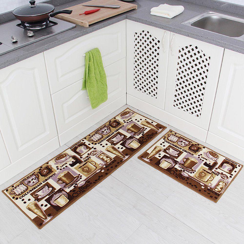 Carvapet 2 Piece Non Slip Kitchen Mat Rubber Backing Doormat Runner Rug Set Coffee