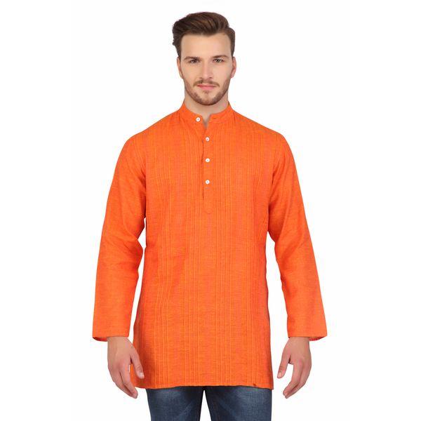190a600a In-Sattva Shatranj Men's Indian Mid-Length Banded Collar Pin Tucked Kurta  Tunic Shirt