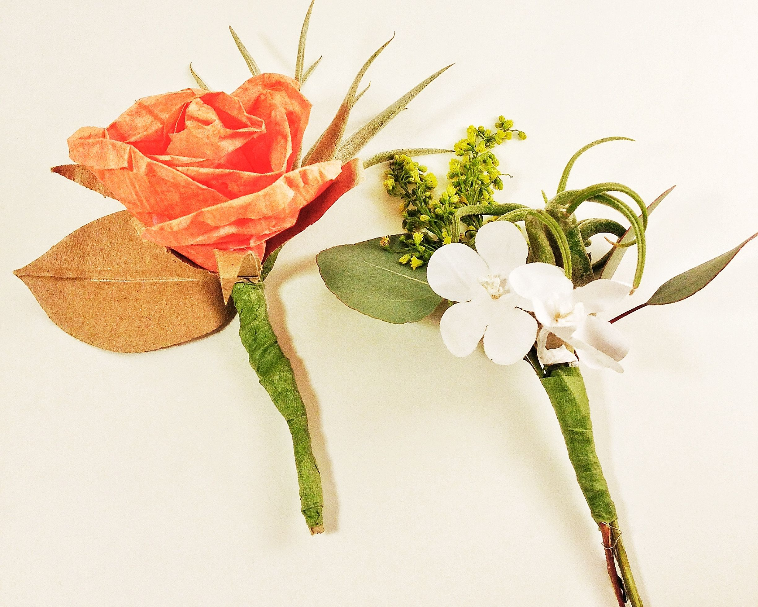 Diy Air Plant And Paper Flower Boutonnieres Made At West