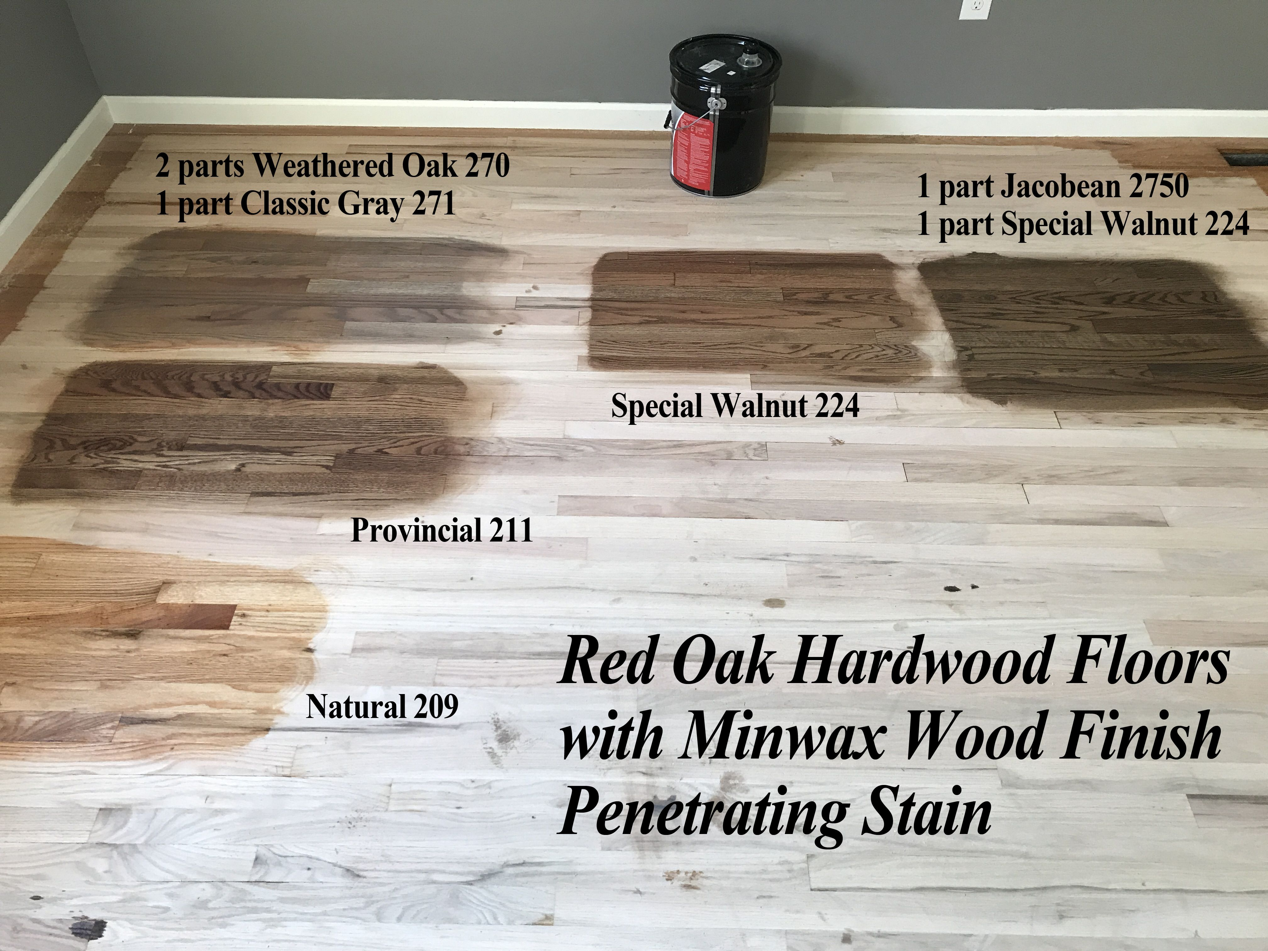 Red Oak Hardwood Floor Stains Using Minwax Wood Finish