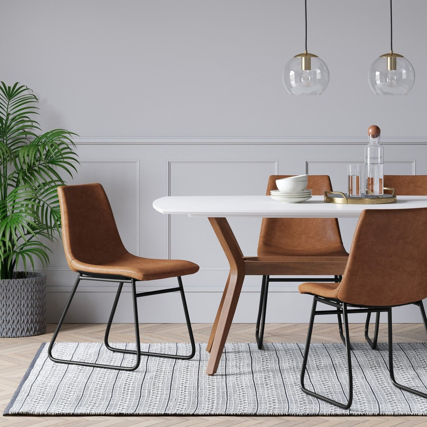 Incredible 2Pk Bowden Faux Leather And Metal Dining Chair Project 62 Gmtry Best Dining Table And Chair Ideas Images Gmtryco