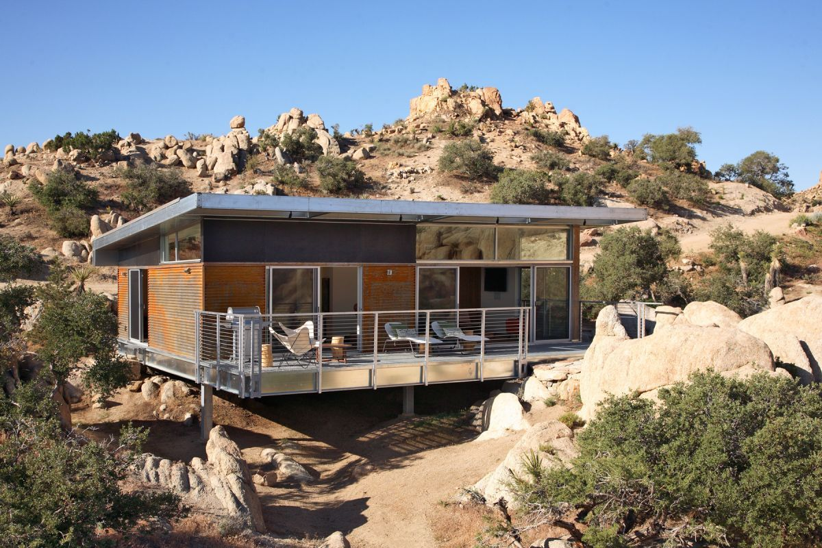 Palm Springs Modern Prefabricated Home With Cantilever Porch, Designed By  Architecture, Named Blue Sky Homes.