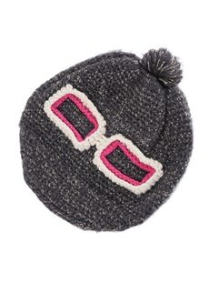 Glasses decorated woolen yarn hat