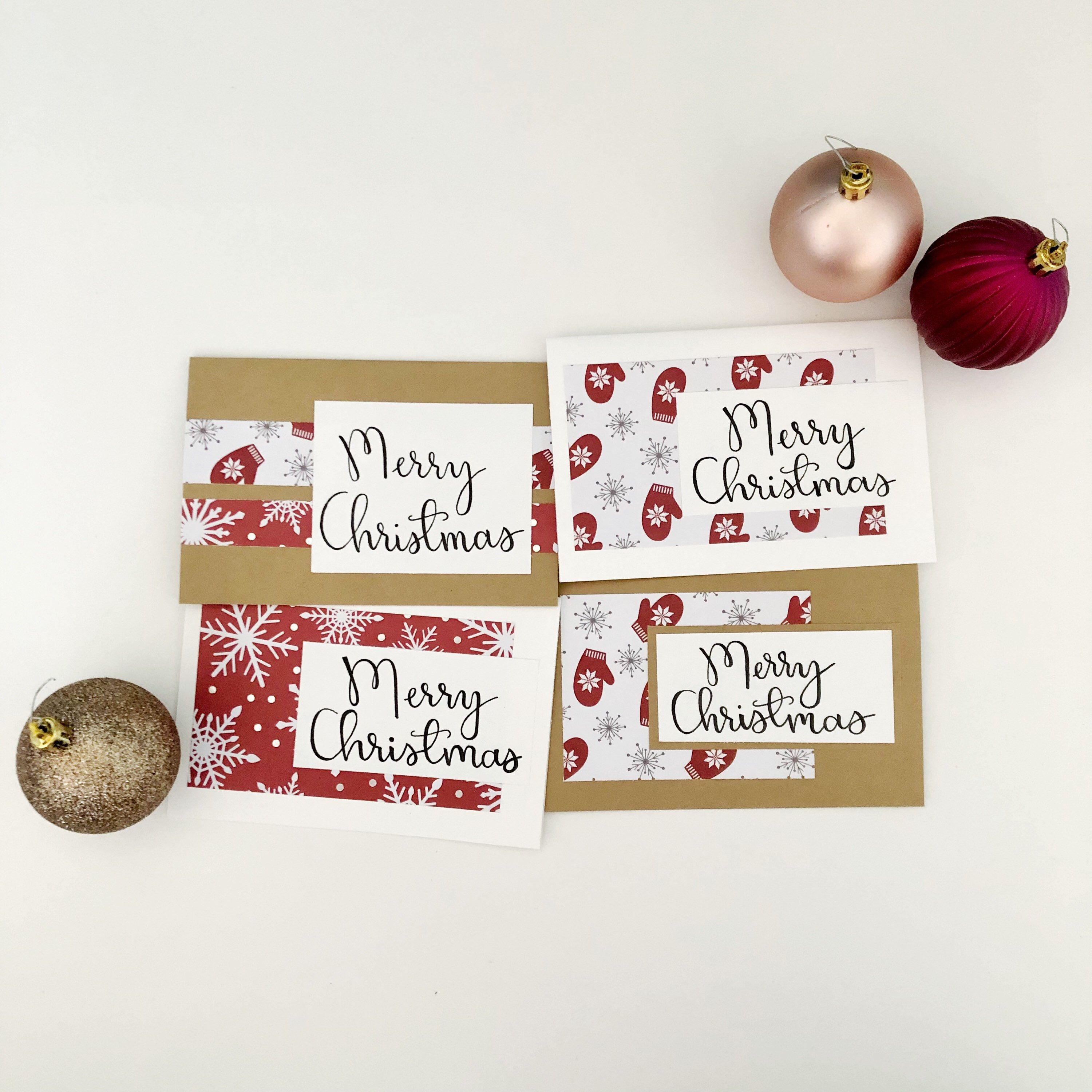 Merry Christmas Card Pack 4 Set Pack Of Cards 4x6 Cards Etsy Christmas Card Packs Hand Lettering Cards Red Christmas Cards