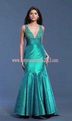 Fabric: Beaded Taffeta Length: Long Neckline: Low V-Neck Waistline: Empire Tag:Long V-Neck Green Dress