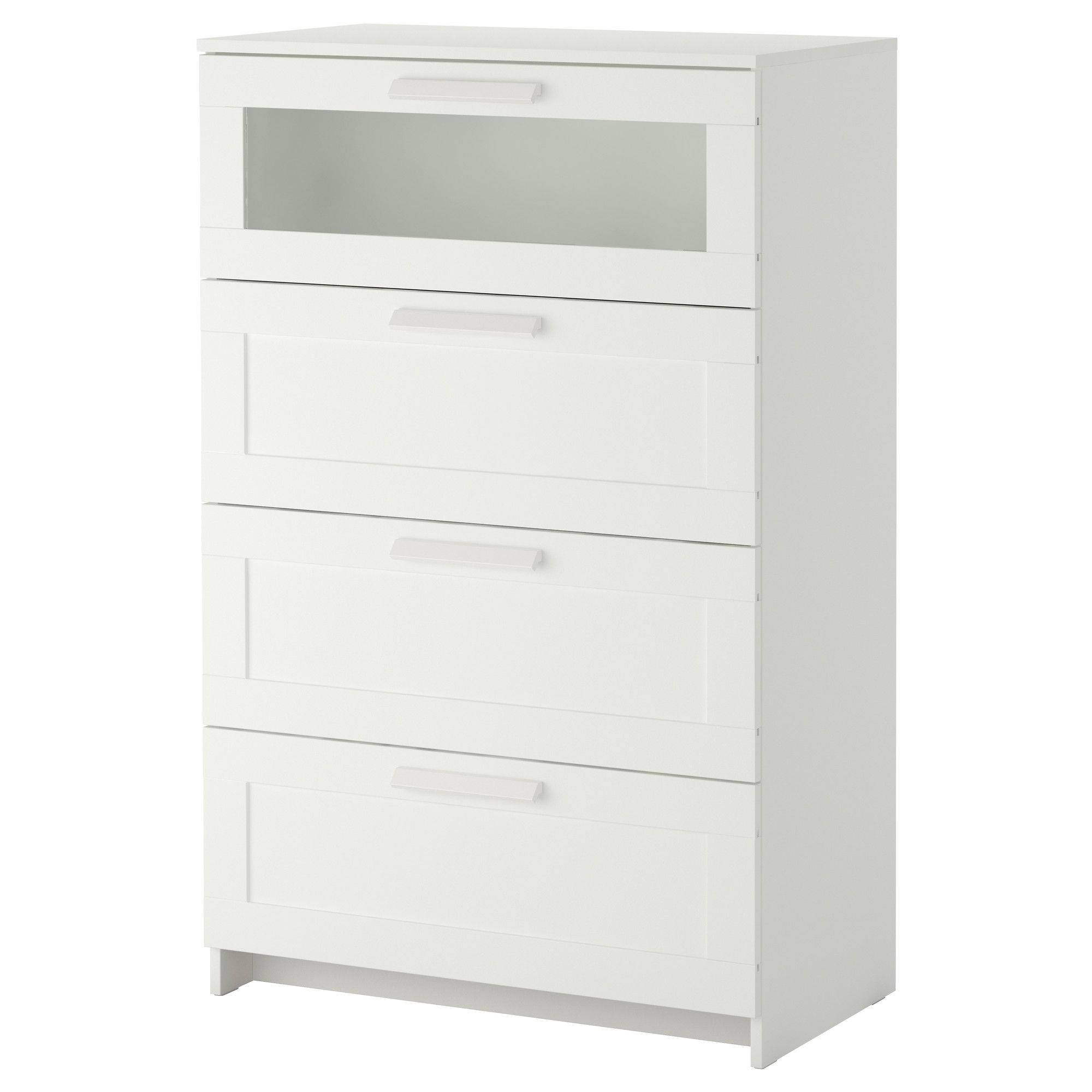 ikea brimnes commode 4 tiroirs blanc verre d poli les tiroirs sont faciles ouvrir et. Black Bedroom Furniture Sets. Home Design Ideas