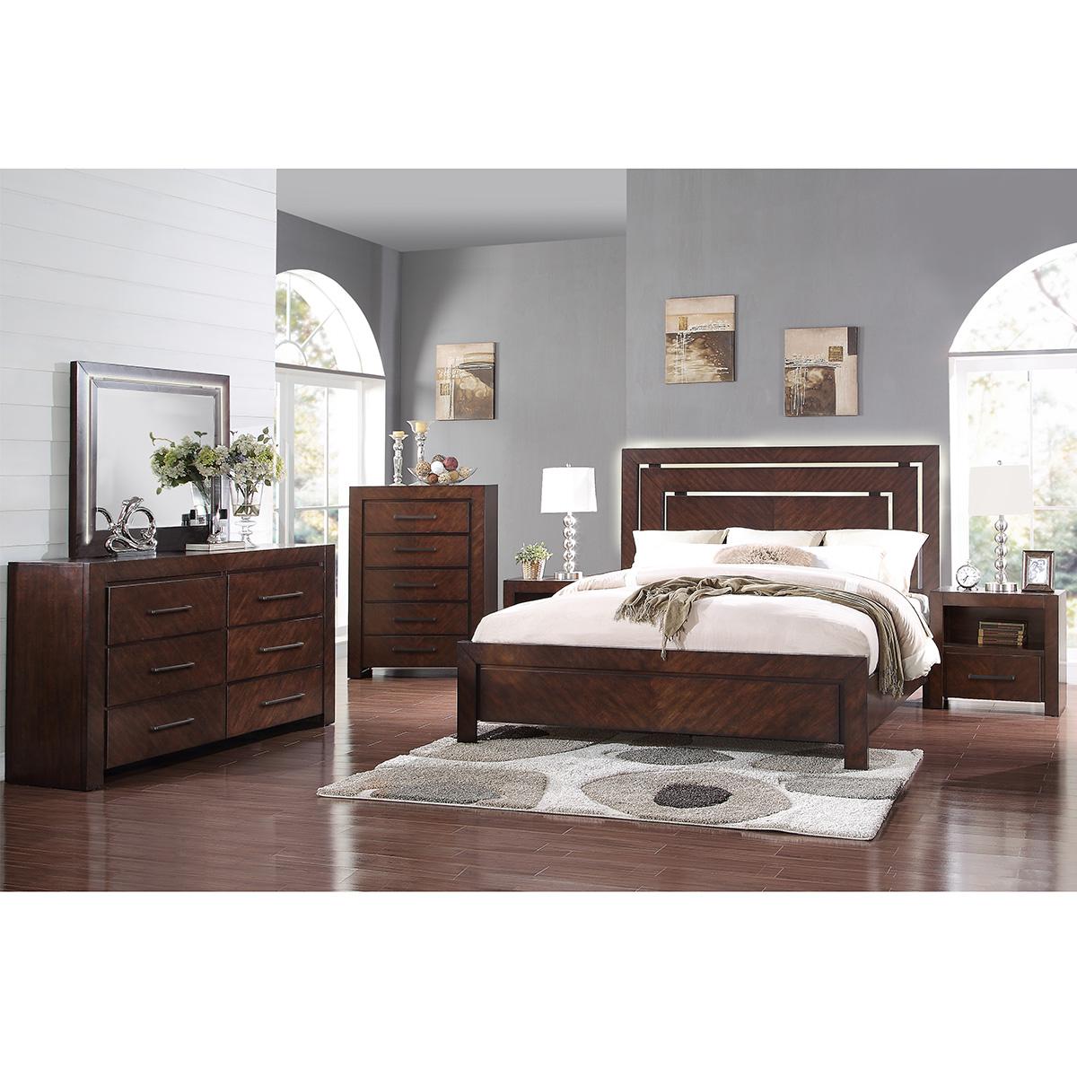 Legends City Lights 6 Piece Queen Bedroom Set Walnut