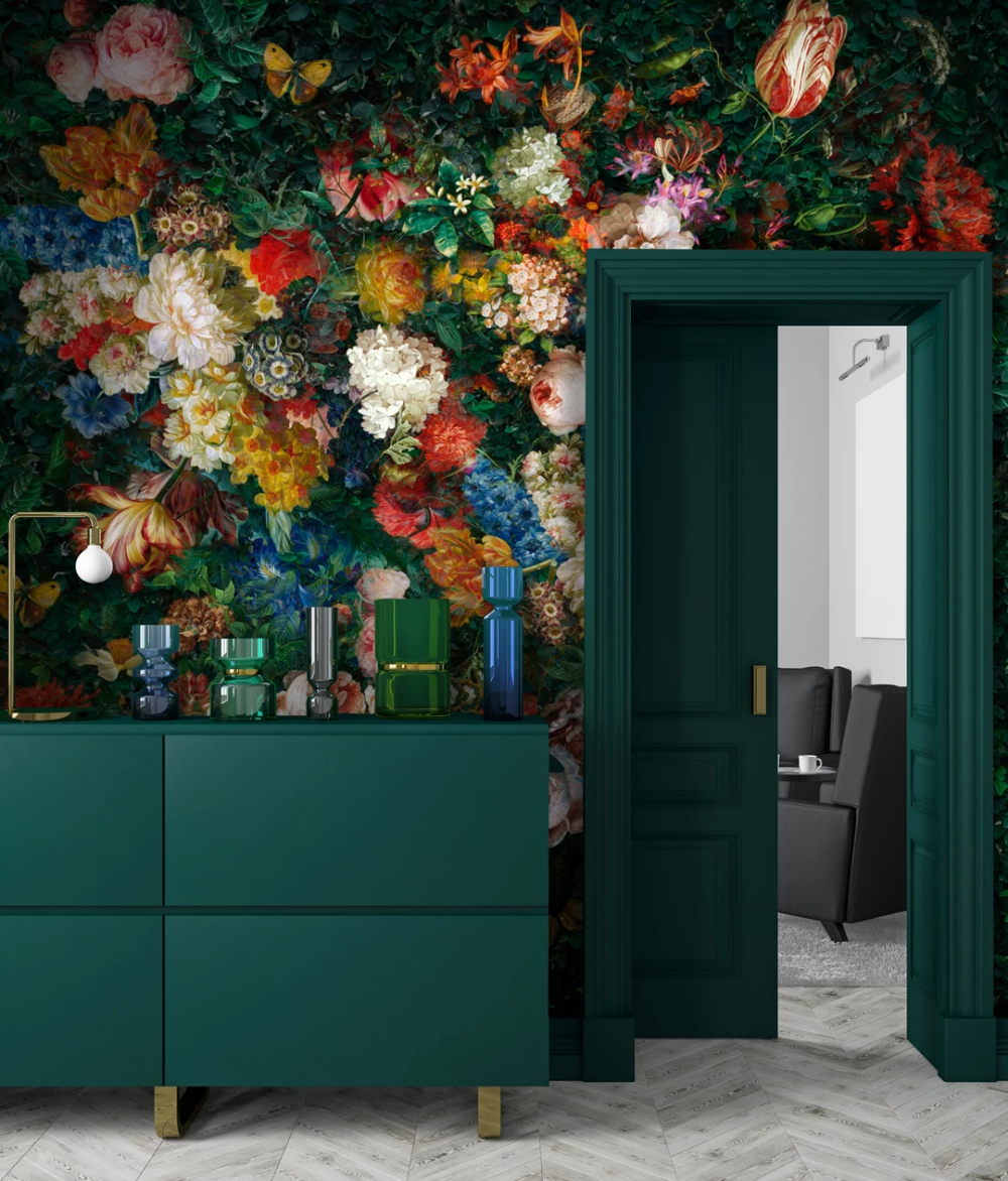 Blooming Hedge Bright/ Design Dark green wallpaper