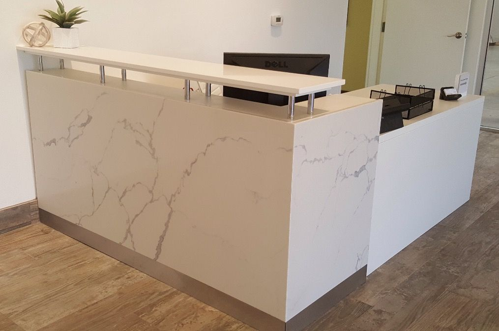 Beautiful Custom Desk Made Out Of Quartz Fabricated And Installed By Alpha Marble And Granite For Da Custom Desk Countertops Home Appliances