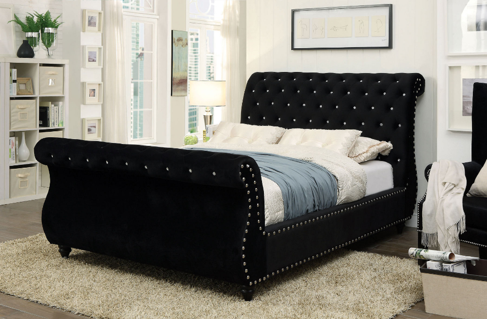 Noella Black Queen Size Bed Contemporary Sleigh Beds Black Bedding Bed Frame Sets
