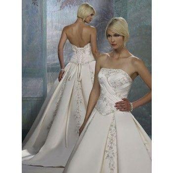 luxus lang trägerlos kapelleschleppe brautkleider kirchliche trauung  kleid hochzeit
