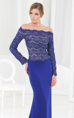 Embellished Scalloped Off The Shoulder Gown by Terani Couture Evening M3837